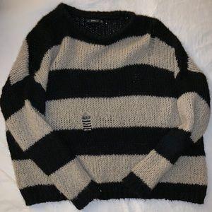 Zara Distressed Striped Sweater